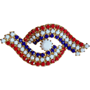 Gorgeous Red White & Blue Rhinestone Vintage Brooch
