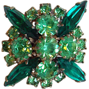 Gorgeous Green Rhinestone Vintage Cocktail Ring