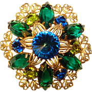 Fabulous BLUE & GREEN Rivoli Rhinestone Vintage Brooch
