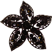 Awesome BLACK on BLACK Vintage Rhinestone Star Flower Brooch