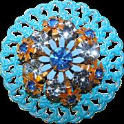 Gorgeous BLUE Enamel & Rhinestone Vintage Brooch