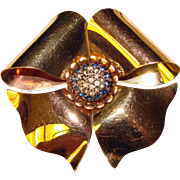 Fabulous 1940's PINK & YELLOW Gold Filled Rhinestone Signed Bow Shaped Brooch