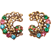 Gorgeous MULTI COLOR Rhinestone Vintage Clip Earrings