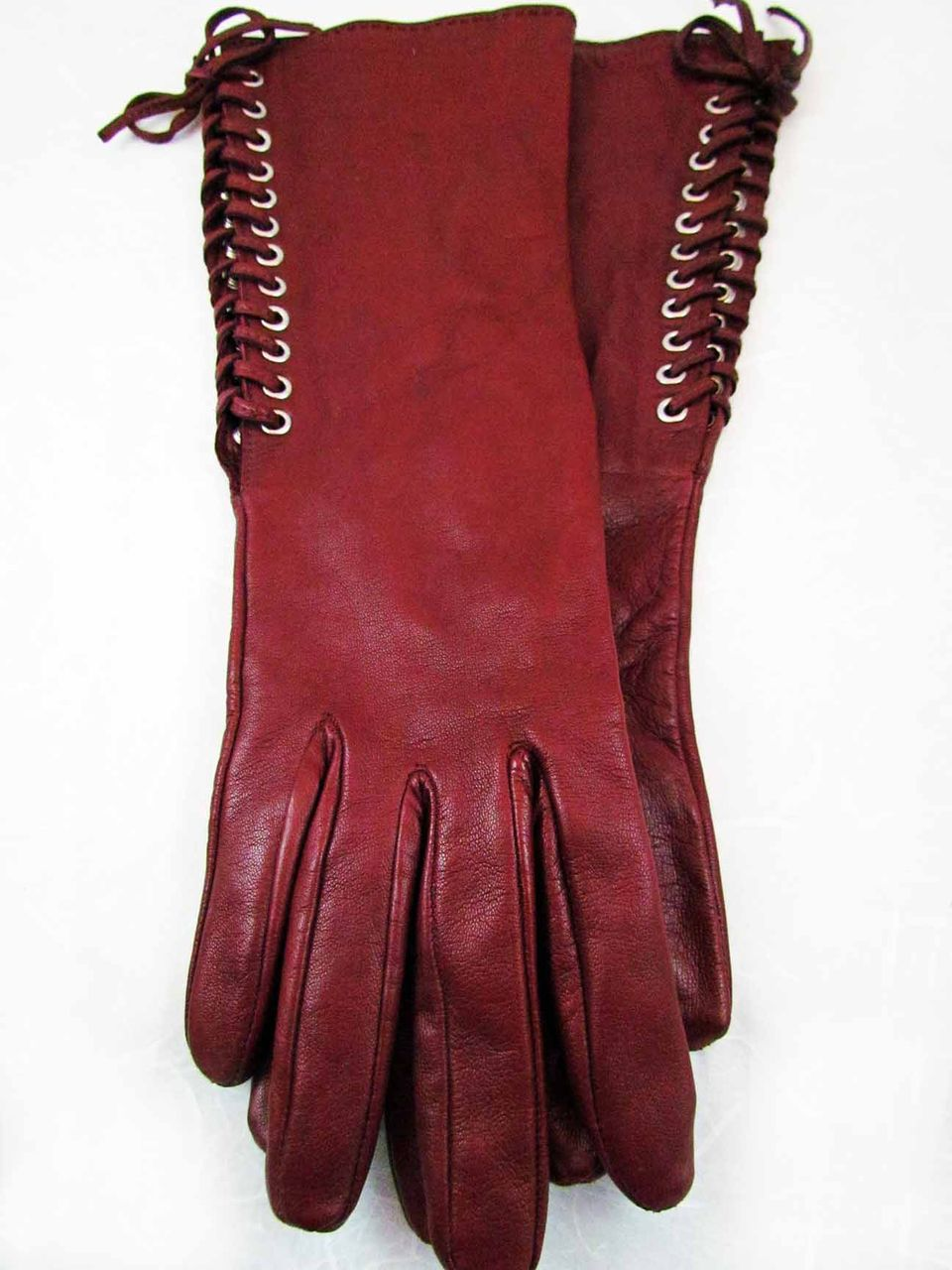 Ladies leather gloves large - Vintage Georges Rech Burgundy Ladies Leather Gloves