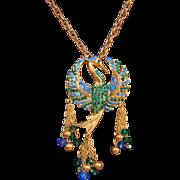 Vintage Alice Caviness Rhinestone Embedded Figural Phoenix Bird Necklace