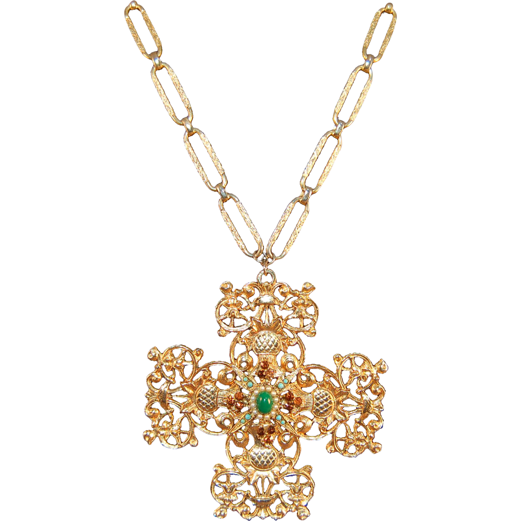 large gold tone scottish thistle quot jeweled quot maltese cross