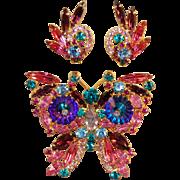 Juliana DeLizza & Elster Iridescent Margarita Colorful Figural Butterfly Brooch & Earrings