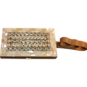 Mother Of Pearl Rhinestone Embellished Vintage Necessaire/Hand Bag