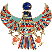 Signed Accessocraft Egyptian Revival Falcon Large Figural Brooch