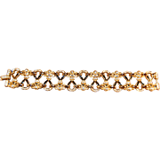 Enameled & Rhinestone Embedded Signed Christian Dior Double Wide Bracelet