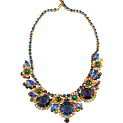 Juliana DeLizza & Elster Rhinestone Embedded Vintage Necklace w/Gold Tone Leaf Design