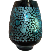 Mid-Century Modern Iridescent Cut Bubble Turquoise Blue & Black Art Glass Vase