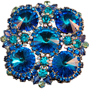 Iridescent Huge Blue Rivoli Rhinestone Juliana DeLizza & Elster Brooch