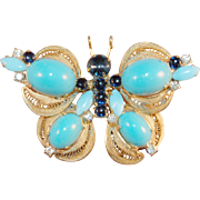 RARE Juliana DeLizza & Elster High Domed Cabochon Blue Butterfly Brooch