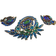 Iridescent Watermelon/Heliotrope Layered Juliana DeLizza & Elster Brooch & Earring Set