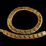 Exquisite Signed Monet Aqua Cabochon Inset Gold Tone Metal Collar Necklace & Bracelet