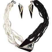 Dramatic Trifari Kunio Matsumoto Signed Necklace, Brooch & Earring Set