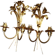 FABULOUS Mid-Century Modern Figural Lily Antiqued Brass Metal Wall Sconces