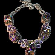 RAINBOW Titanium Drusy/Druzy/Drusies Chunky Necklace w/Amethysts Set in Silver