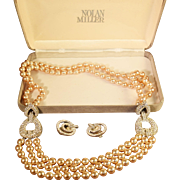 Sparkling Signed Nolan Miller Simulated Pearl & Rhinestone Necklace & Earrings