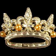 Spectacular Marcel Boucher Phrygian Cap Mark Rhinestone Embedded Crown Brooch