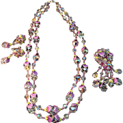 Complete RARE Vendome Crystal Enameled Necklace, Brooch & Earring Set