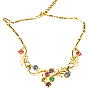 Vintage Signed Coro Enamel and Multi-Colored Rhinestone Necklace