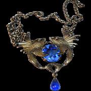 Fabulous Dimensional Figural Fish Art Deco Era Necklace w/Blue Stones