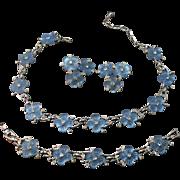 Captivating Kramer Vintage Signed Opalescent Flower Necklace, Bracelet & Earring Set