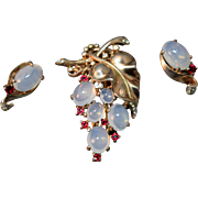 Sterling Silver Alfred Philippe Crown Trifari Faux Moonstone Figural Grape Fur Clip & Matching Earrings