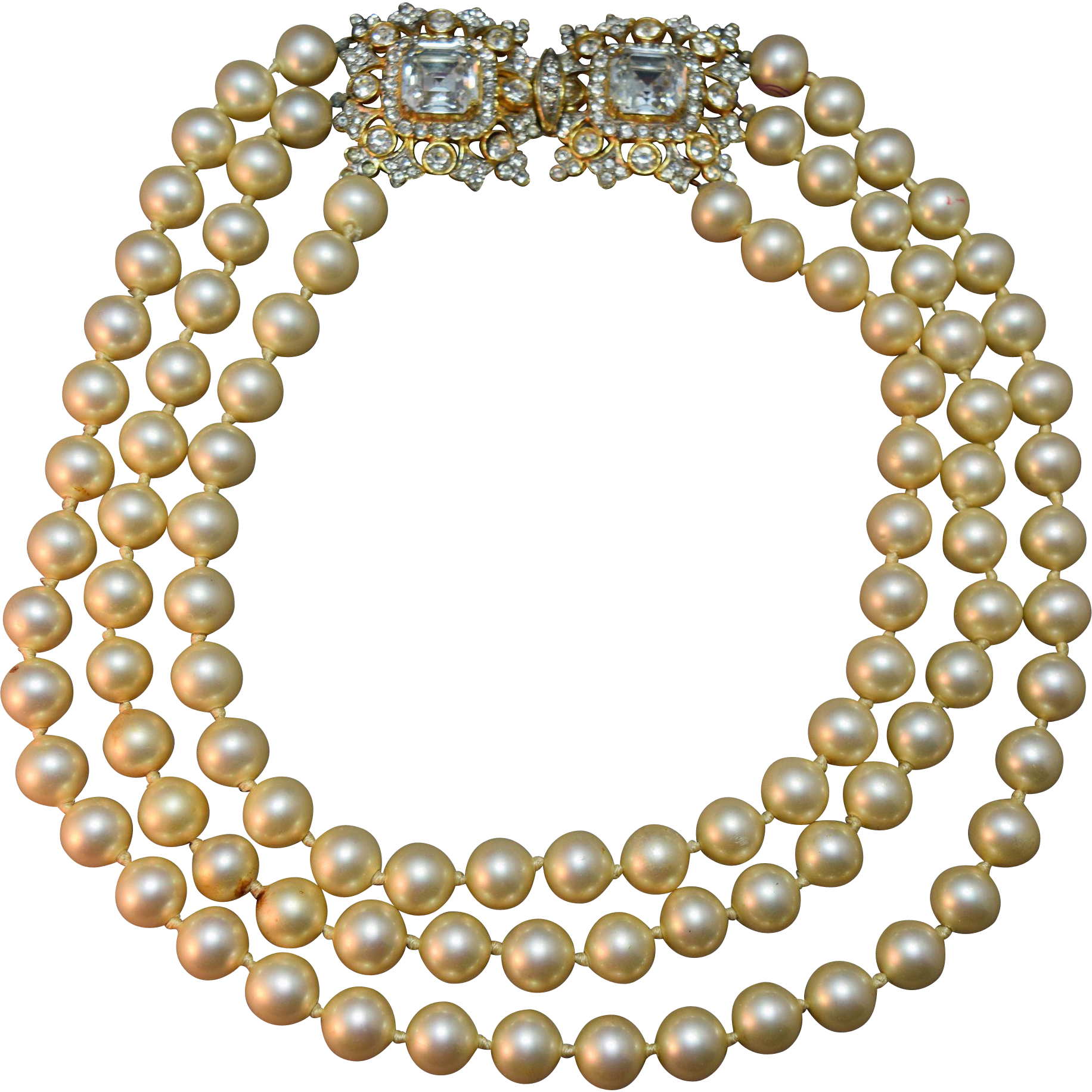 Massive Over The Top Vintage Kjl (kenneth J Lane) Laguna Triple Strand  Simulated Pearl Necklace