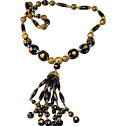 Sassy Vintage Crown Trifari Black & Gold Colored Bead Tassel Necklace