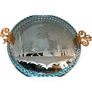 RARE European Art Glass Etched Scenic Dresser/Serving Tray Gilt Handled