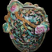 Magnificent Chinese Guangxu Reign Famille Noir Dimensional Enormous Vase