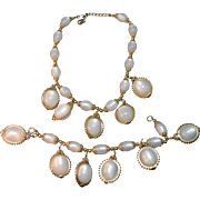 Napier Unusual Huge Moon Glow Cabachon Necklace & Bracelet Set w/Dangles