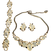 RARE Alfred Philippe Crown Trifari Opalescent Fruit Salad Necklace, Bracelet & Earrings