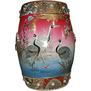 SUPERB Amtoqie 1880's Japanese All Over Enameled & Gilded Garden Seat w/Cranes, Coy Fish, and Dragons