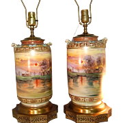SUPERB Highly Decorated Pair of Vintage Original Nippon Table Lamps