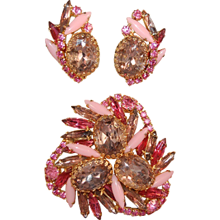 Unusual Juliana DeLIzza & Elster Exquisite Opaque Navette & Pink Rhinestone Brooch & Earring Set