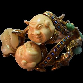 "RARE HAR Oriental Man Double Headed Simulated Jade ""Gems""  Inset Clamper Bracelet"