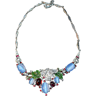 RARE Alfred Philippe Art Deco Style Vintage Blue Simulated Moonstone, Rhinestone & Enamel Necklace