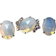 RARE Magnificent Vintage Schiaparelli Signed Opalescent Faceted Crystal & Rhinestone Brooch & Earring Set