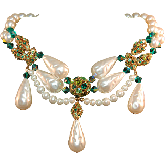 "Vintage ""Maharaja's Treasure"" Necklace w Huge Drop Simulated Pearls and Rhinestones"