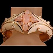 Gorgeous Vintage Crown Trifari Enamel & Simulated Pink Moonstone Cabochon Hinged Bracelet