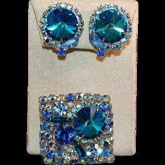 Juliana DeLizza & Elster Iridescent Peacock Blue Rivoli and Rhinestone Brooch & Earring Set
