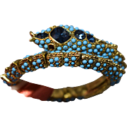 DELIGHTFUL RARE Kenneth Lane Vintage Simulated Turquoise Beaded & Rhinestone Figural Snake Wrap Bracelet!