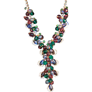 FABULOUS Drippy Juliana DeLizza & Elster Iridescent Rhinestone & Faceted Bead Book Piece Necklace