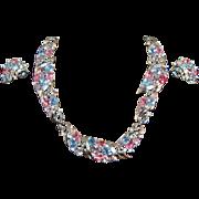 SHIMMERING Crown Trifari Pastel Fruit Salad Rhinestone Embedded Necklace & Earring Set