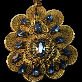 Art Deco Era Layered Dimensional Filigree Metal & Blue Rhinestone Unusual Large Necklace