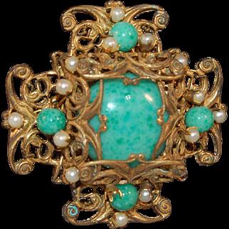 Miriam Haskell Vintage Signed Dimensional Metal Filigree Brooch w/Simulated Jade Stones & Beads